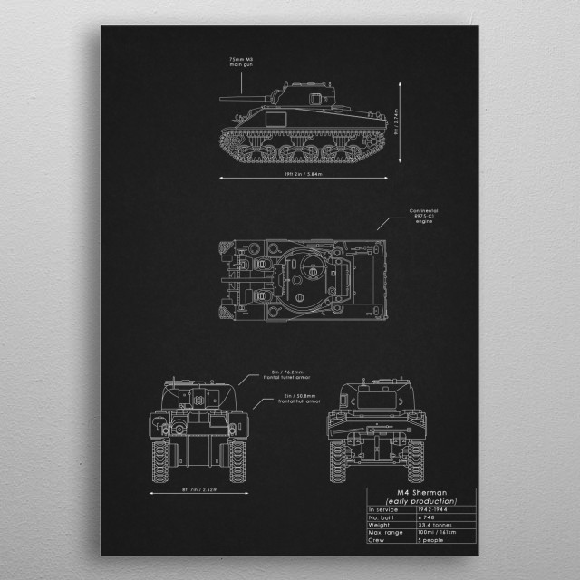 M4 Sherman (early production) metal poster