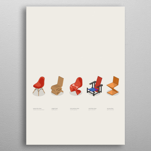 iconic chairs metal poster