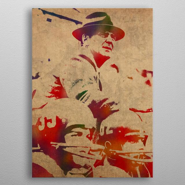 Coach Bear Bryant Watercolor Portrait metal poster