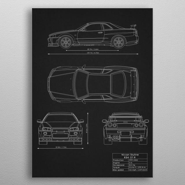 Nissan Skyline R34 GT-R metal poster