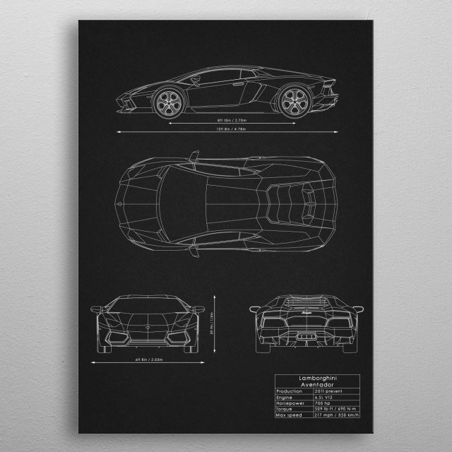 High-quality metal print from amazing Supercars Blueprints collection will bring unique style to your space and will show off your personality. metal poster