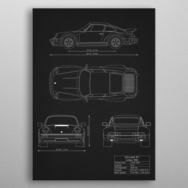 porsche 911 turbo 930 metal poster