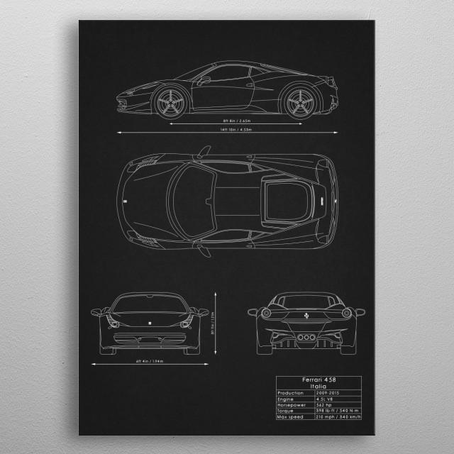 Ferrari 458 Italia metal poster