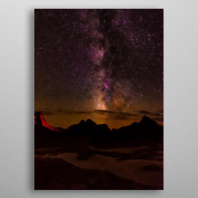 Milky Way over the Badlands NP metal poster