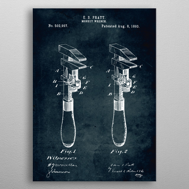 No339 - 1893 - Monkey wrench metal poster