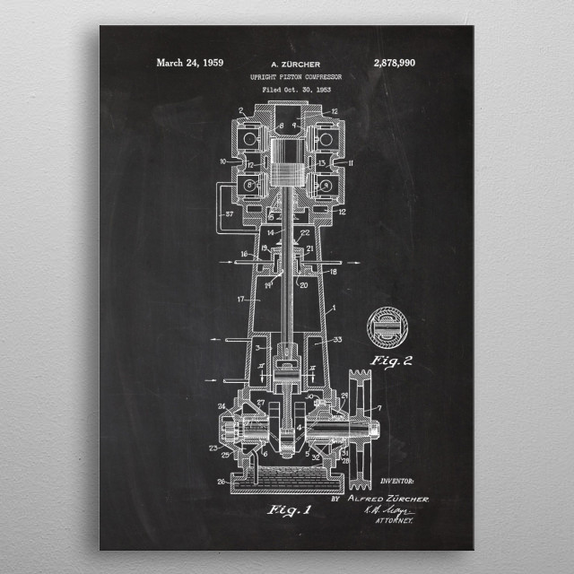 1959 Upright Piston Compressor - Patent Drawing metal poster