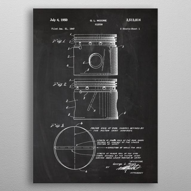 1947 Piston - Patent Drawing metal poster