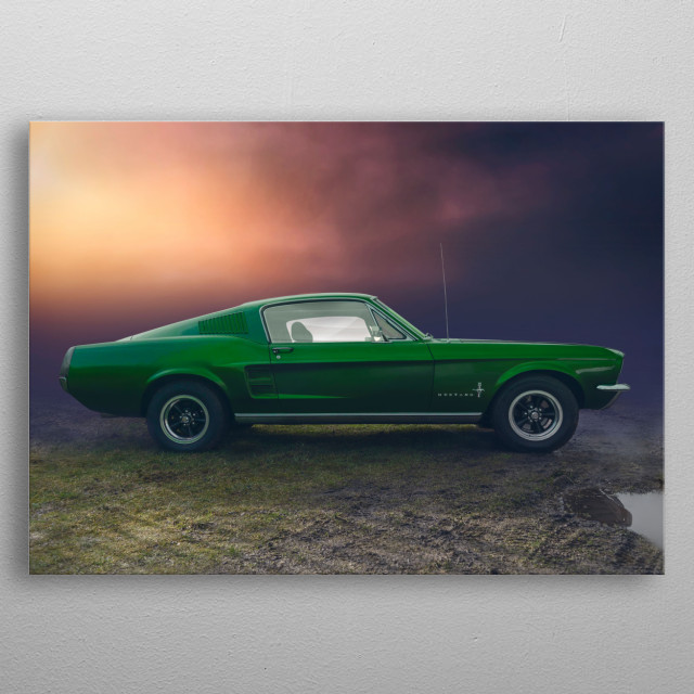 Re'edit of a American classic Ford Mustang. metal poster
