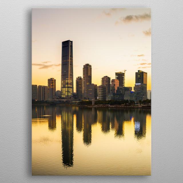 Sunset at Shenzhen Bay, China metal poster