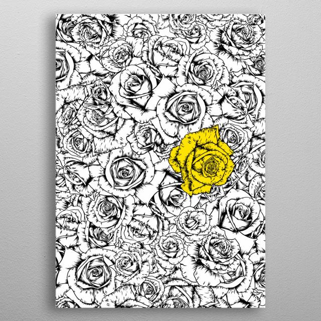 Yellow rose metal poster