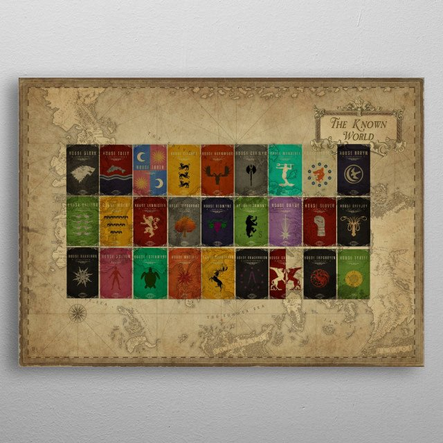 Game of Thrones World Map and Houses metal poster