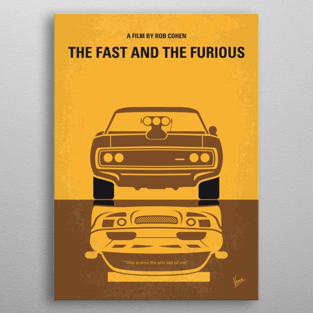 No207-1 My The Fast and the Furious minimal movie  metal poster