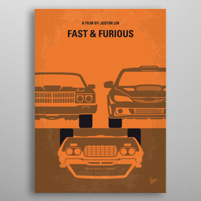 No207-4 My Fast and Furious minimal movie poster metal poster