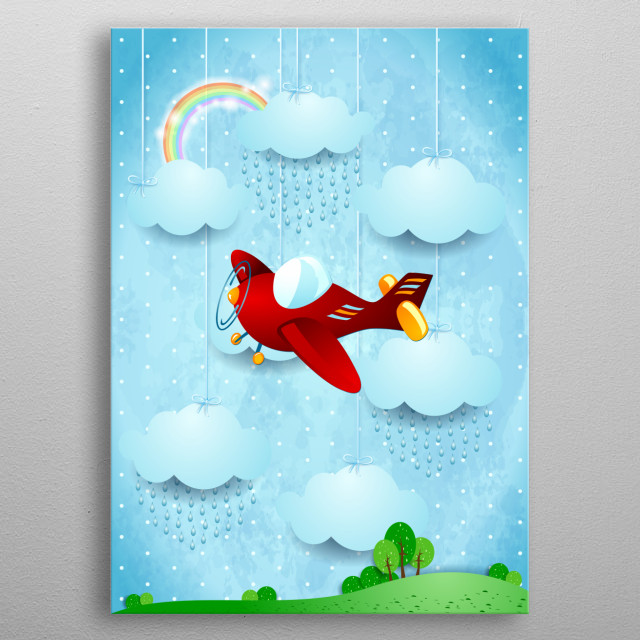 Red vintage airplane on fantasy landscape metal poster