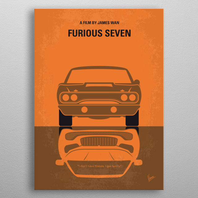 No207-7 My Furious 7 minimal movie poster metal poster