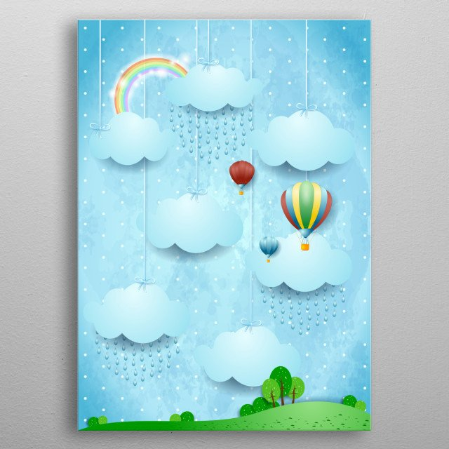 Surreal landscape with hot air balloons and rain metal poster