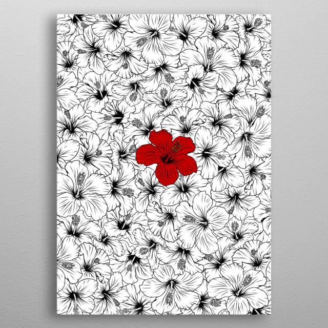 Red Hibiscus metal poster