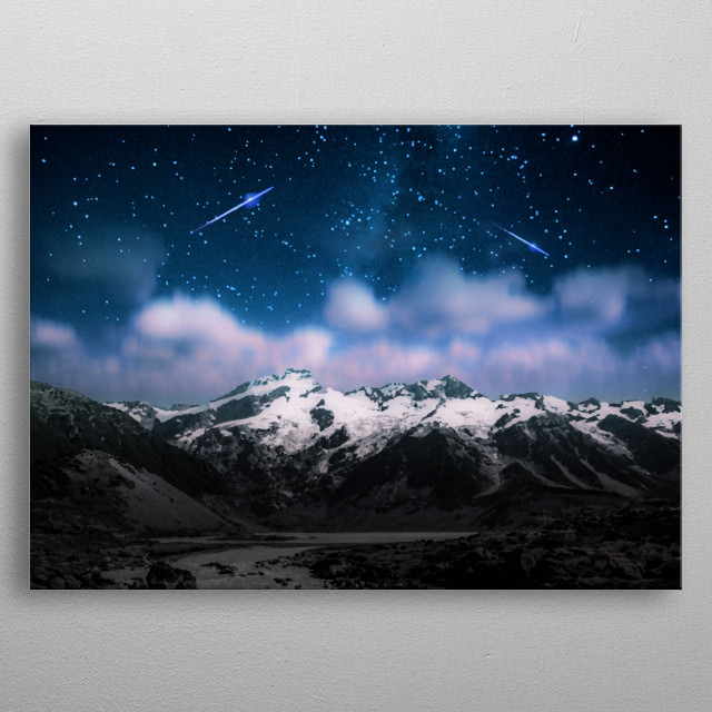 Falling Stars and Mountains  metal poster