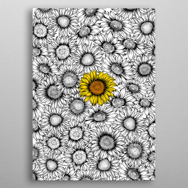 Sunflower pattern metal poster
