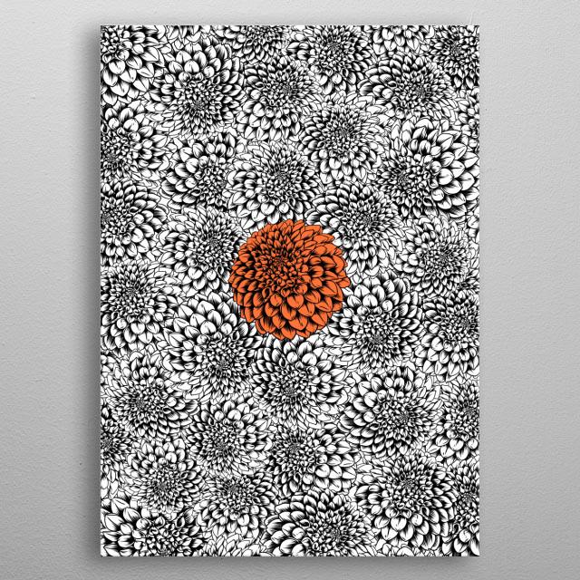 Orange dahlia metal poster