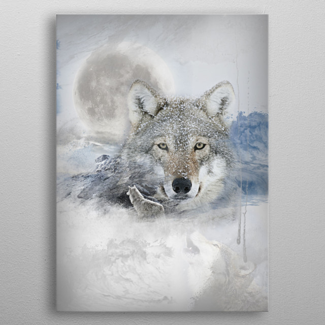 Wolf white metal poster