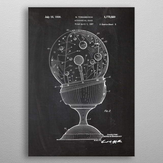 1927 Astronomical Clock - Patent Drawing metal poster