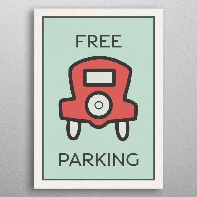 Free Parking Vintage Monopoly Game Theme Card metal poster