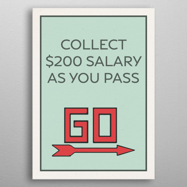 Pass Go Vintage Monopoly Board Game Theme Card metal poster