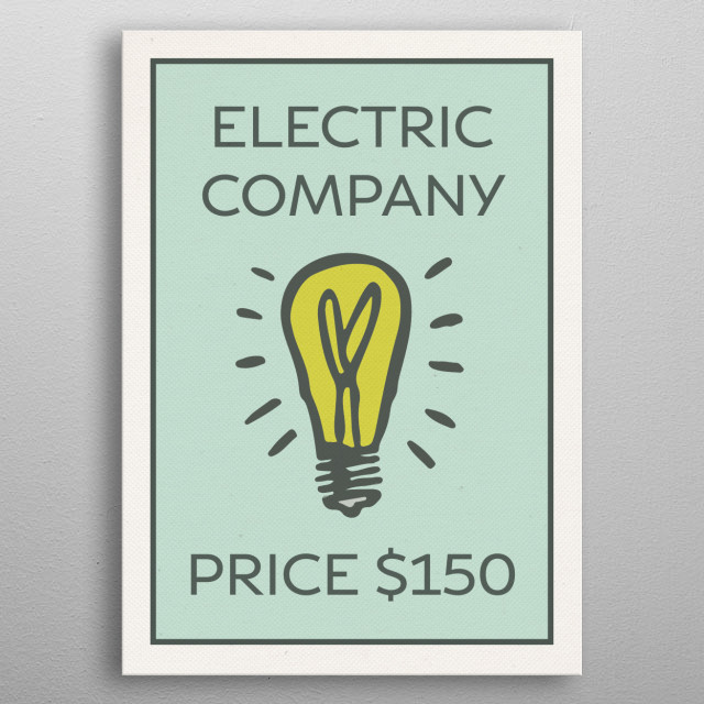 Electric Company Vintage Monopoly Game Theme Card metal poster