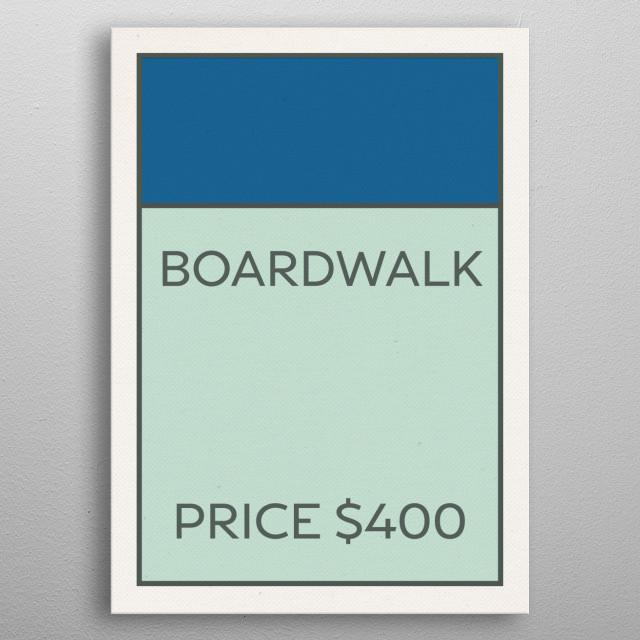 Monopoly Vintage Game Card Boardwalk metal poster