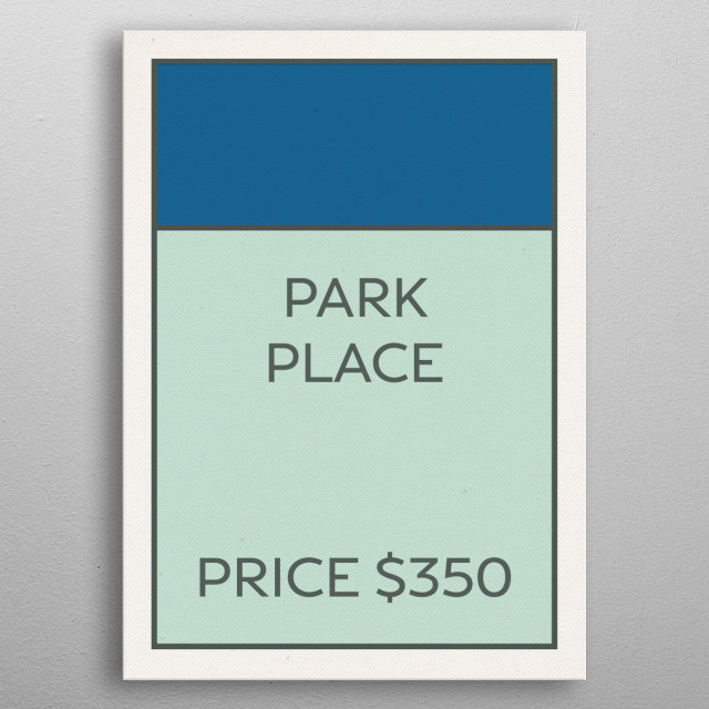 Monopoly Vintage Game Card Park Place metal poster