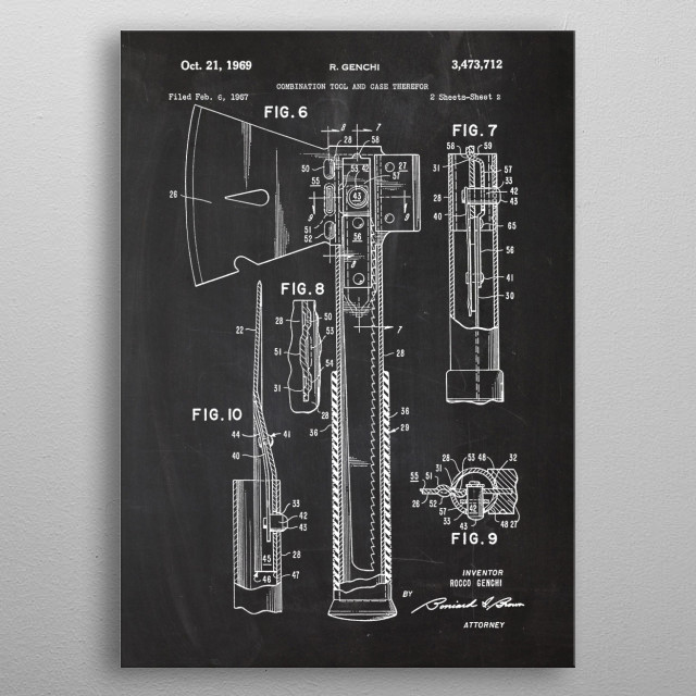 1967 Combination Tool and Case Therefor - Patent  metal poster