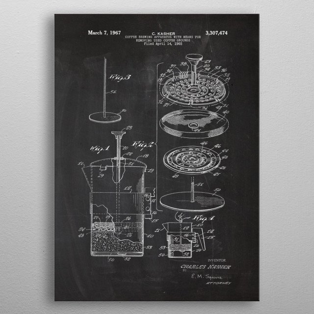 1965 Coffee Brewing Apparatus - Patent Drawing  metal poster
