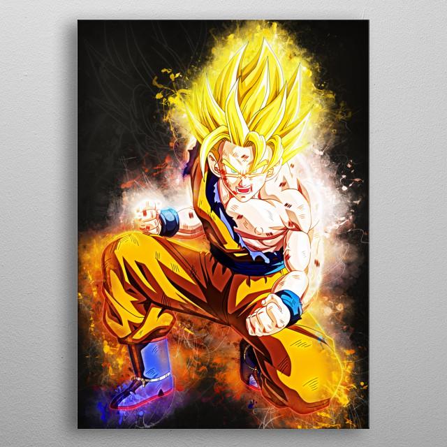 goku super saiyan metal poster