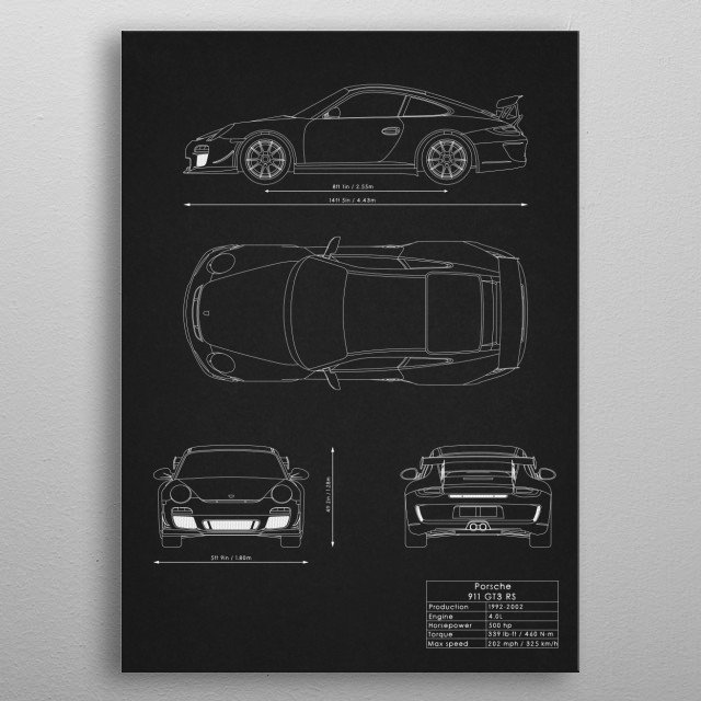 Porsche 911 GT3 RS metal poster