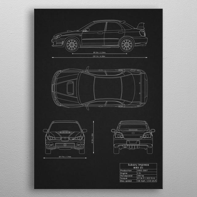 Subaru Impreza WRX STi metal poster