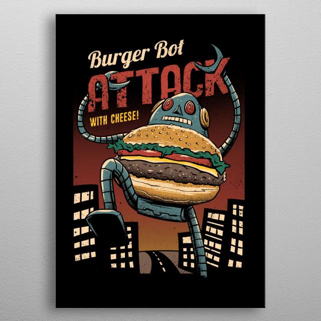 Burger Bot metal poster