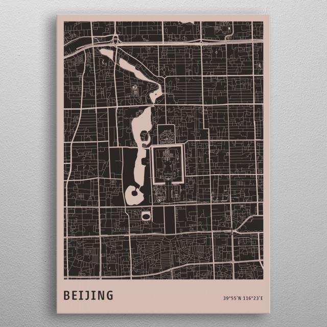 Dark Beijing Map metal poster
