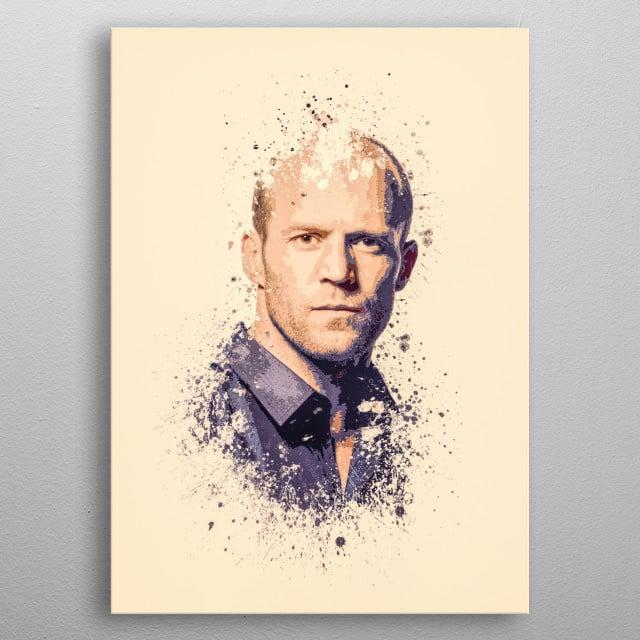 Jason Statham splatter painting metal poster