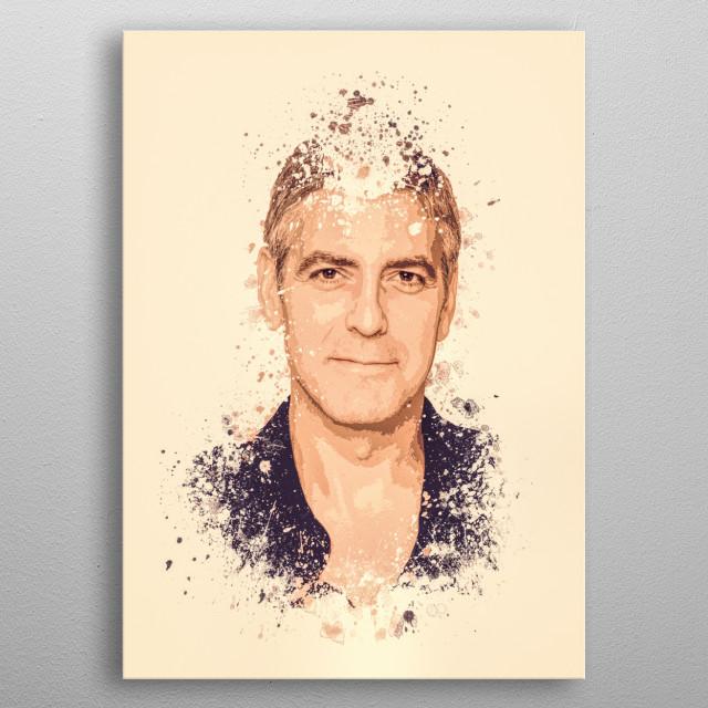 George Clooney splatter painting metal poster