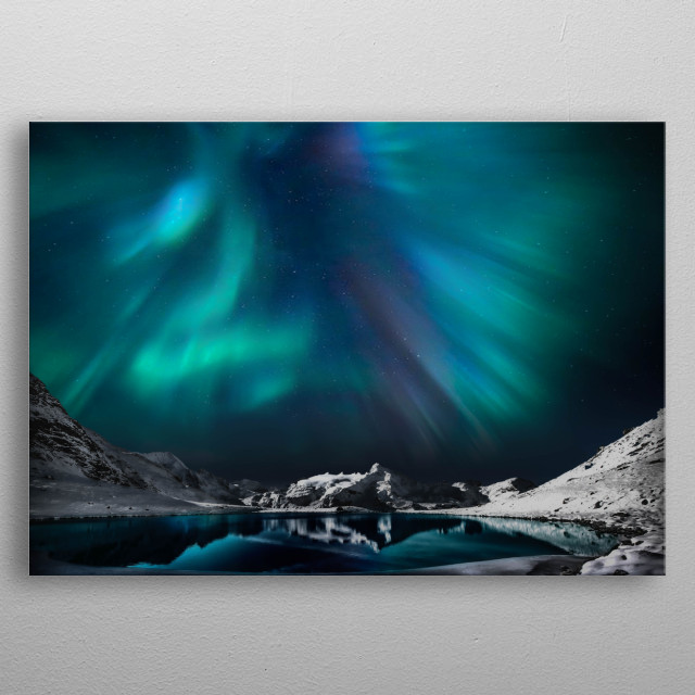 Aurora Borealis In The Winter  metal poster