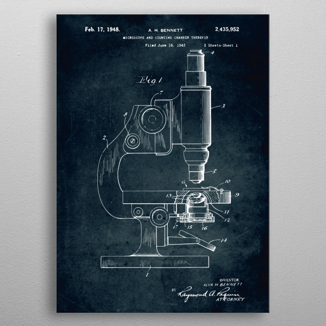 No358 - 1943 - Microscope metal poster