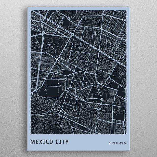 Mexico City Map metal poster