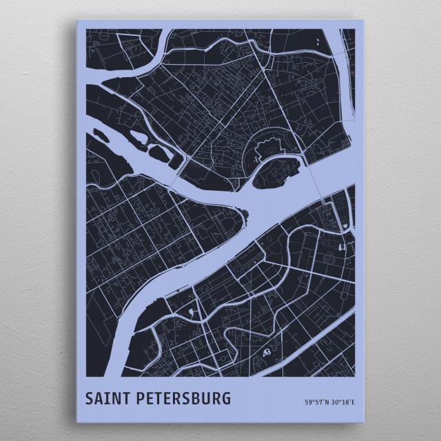 Saint Petersburg Map metal poster