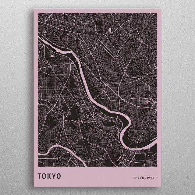 Tokyo City Map metal poster