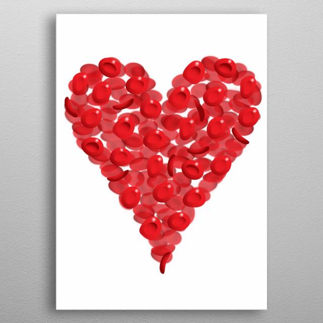 Blood cells heart metal poster