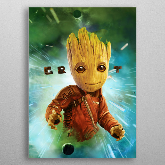 Baby Groot in Space metal poster