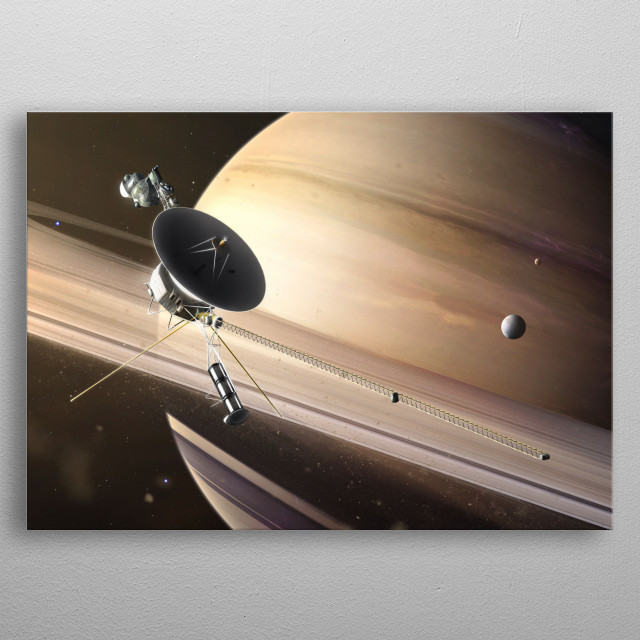 Saturn Flyby metal poster