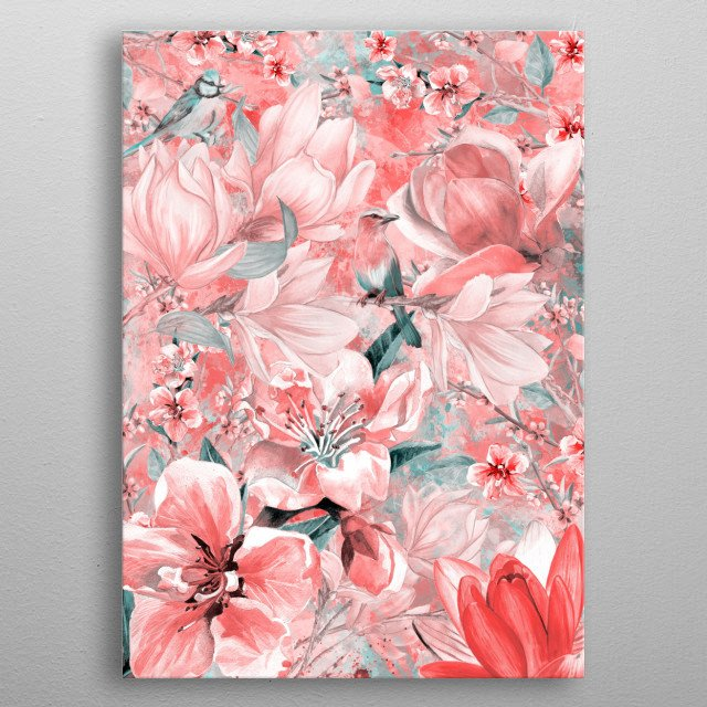 Flowers and birds metal poster