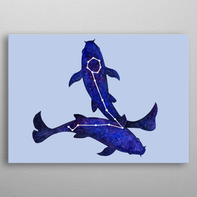 Astrological sign Pisces constellation metal poster
